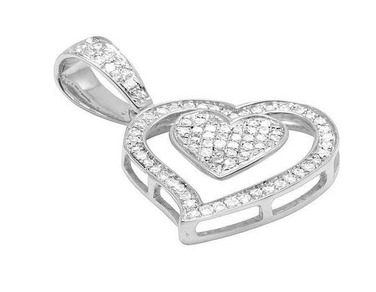 Other Ladies 10K White Gold Tilted Double Heart Genuine Diamond Pendant 1/5