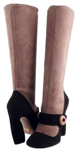 Prada Suede Mary Jane Sculpted Heel Black / Dark Rose Boots