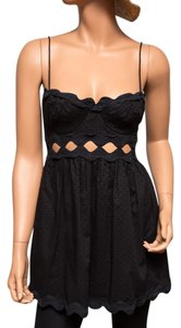 Ingwa Melero Polka Dot Cut-out Sexy Scalloped Top Black