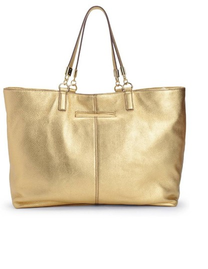 Juicy Couture Large Luxurious Leather Metallic Hardware Tote in Gold