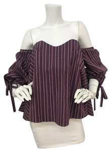 Caroline Constas Off Shoulder Cotton Jacquard Bustier Top burgundy