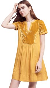 Anthropologie short dress Yellow Mustard Velvet Tunic on Tradesy