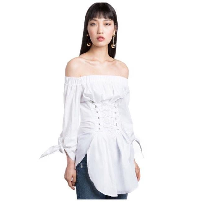 Preload https://img-static.tradesy.com/item/21628994/white-up-corset-tunic-flare-sleeve-blouse-size-6-s-0-0-650-650.jpg