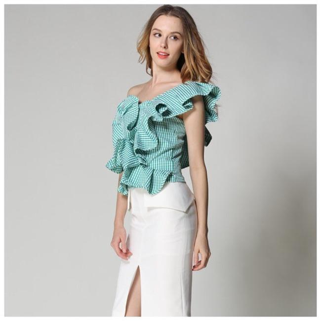 Other Gingham Plaid Ruffle Top Green