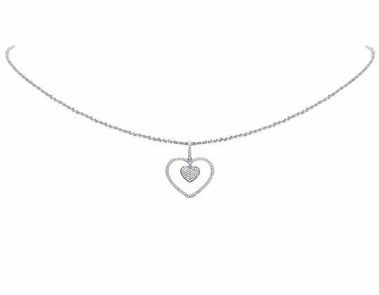 Other Ladies 10K White Gold Genuine Diamond Dangling Double Heart Pendant
