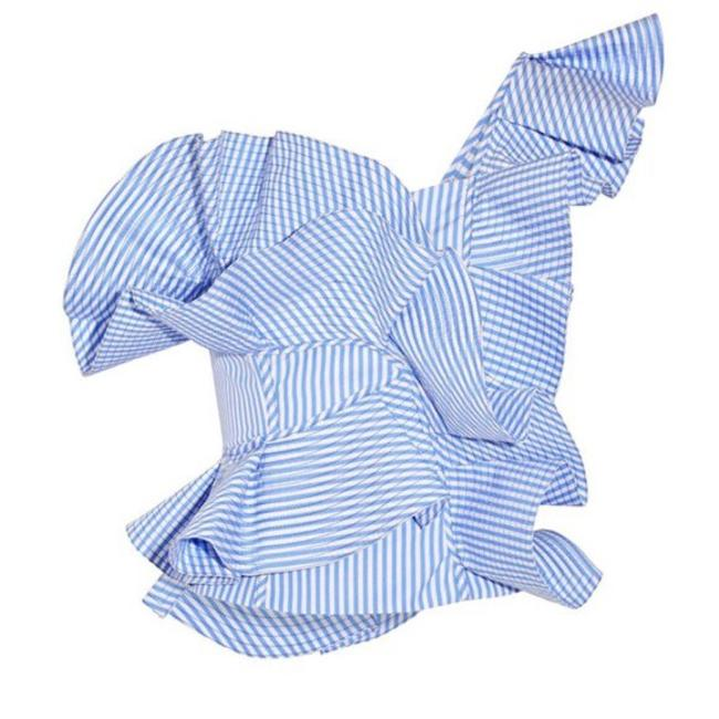Other Gingham Ruffle Open Shoulder Top Blue