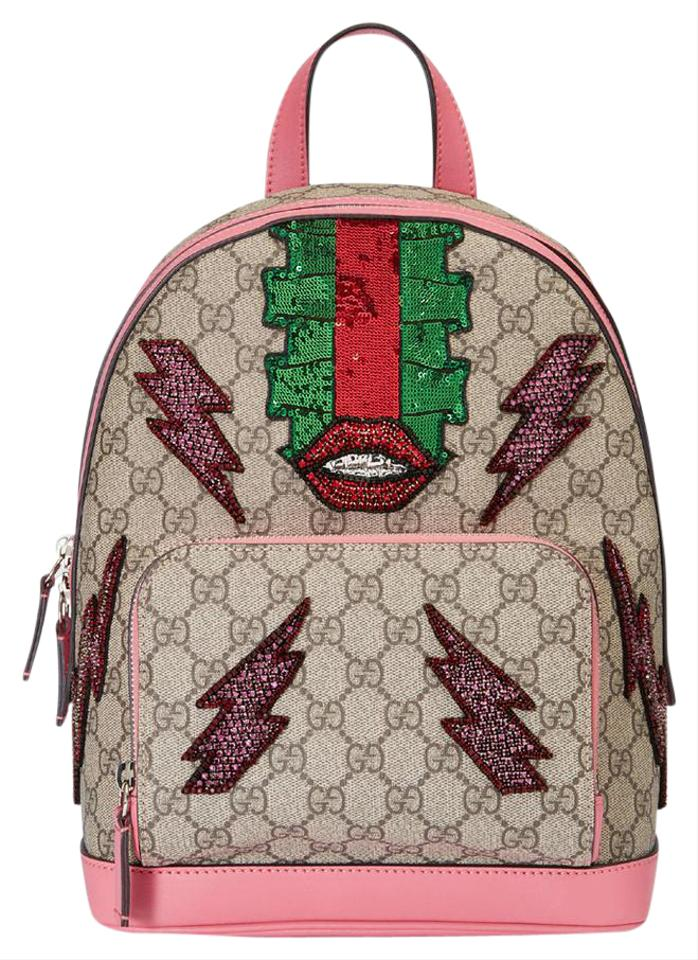 009c4c3817388 Gucci Sky Supreme Gg Canvas  Pink Leather Backpack - Tradesy