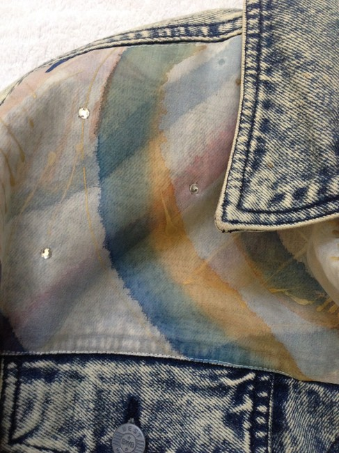 One of a Kind Vintage Hand Painted Silk Rhinestones Acid washed denim Jacket