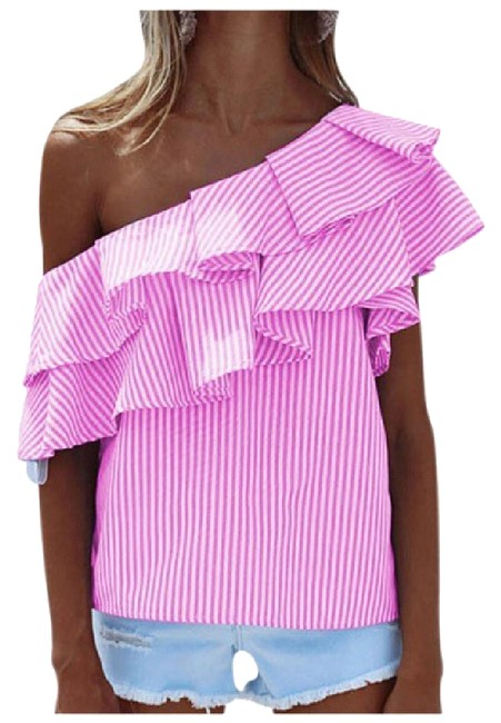 Preload https://img-static.tradesy.com/item/21629123/pink-candy-stripe-one-shoulder-da30-blouse-size-12-l-0-1-650-650.jpg