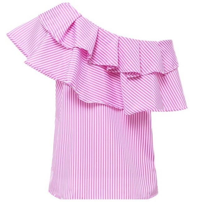 Other Striped One Shoulder Top Pink