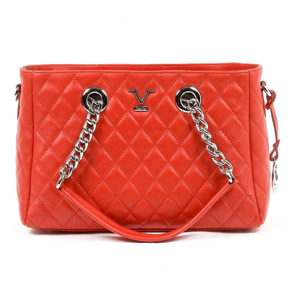 Versace 19.69 V Italia Quilted Chain Handbag Red Leather B2b10570 ... : red quilted bag - Adamdwight.com