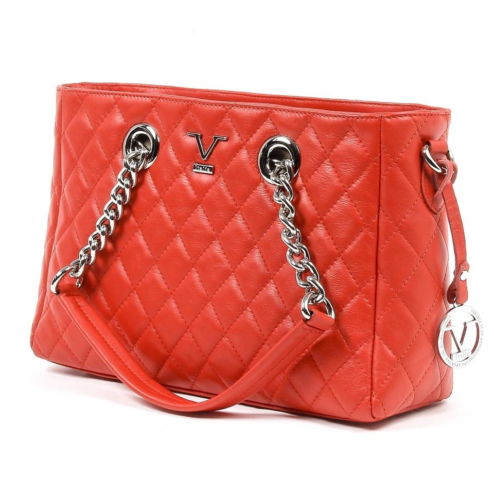 c02938004099 Versace 19.69 V Italia Quilted Chain Handbag Red Leather B2b10570 ...
