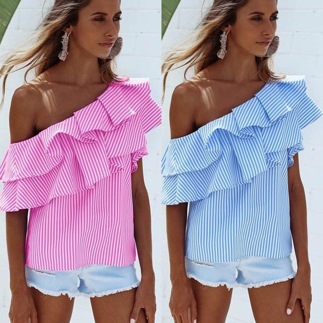 Other Striped One Shoulder Top Blue