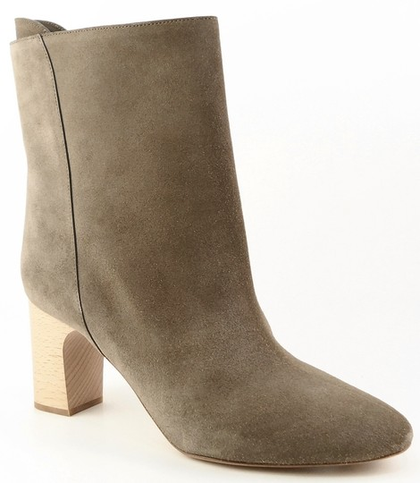 Chloé Gray Suede Wooden Heel Ankle Taupe Boots