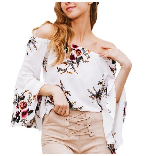 Other Crepe Open Shoulder Top White Floral