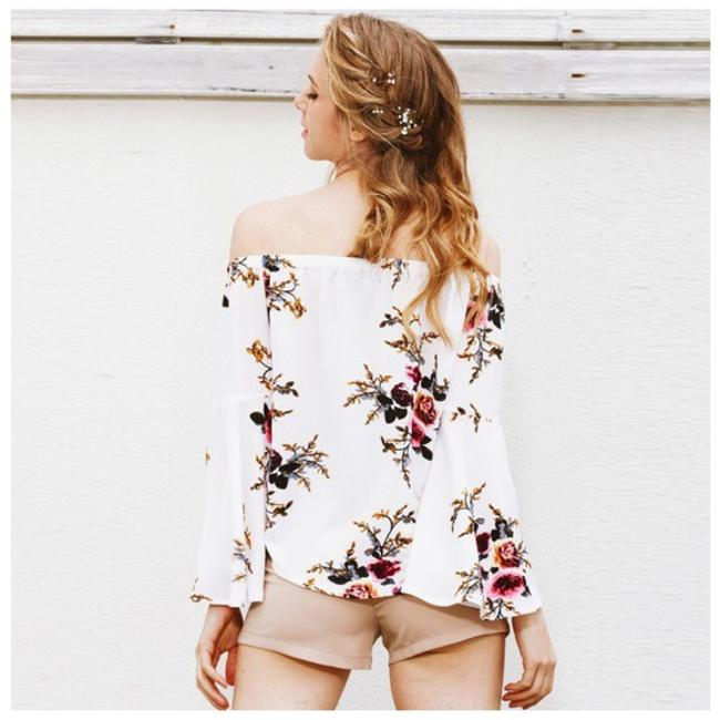 Other Floral Crepe Open Shoulder Top White