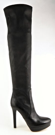 Miu Miu Leather Over The Knee Pull On Designer Black Boots