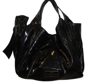 Valentino Patent Leather Bow Satchel in black