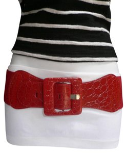 Alwaystyle4you NEW WOMEN ELASTIC RED FASHION BELT HIP HIGH WAIST SQUARE BUCKLE 30