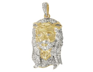Other Men's Jesus Face Head Piece Diamonds Charm Pendant 1.0ct 1.2