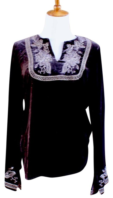 Preload https://item2.tradesy.com/images/karen-kane-brown-w-gold-embroidery-tunic-size-4-s-21629631-0-1.jpg?width=400&height=650