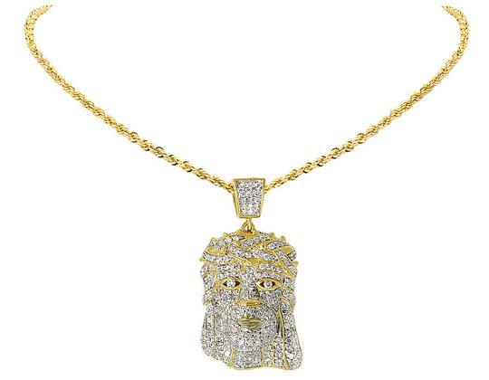 Other Men's Jesus Face Head Piece Diamond Pendant 1.0 ct 1.2 inches