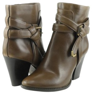 Aerin Brown Leather Ankle Bot Designer Almond Toe Dark Moss Boots