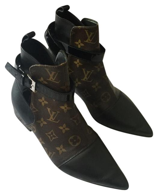 Item - Black/Brown Monogram Leather with Ankle Strap Boots/Booties Size US 7 Regular (M, B)