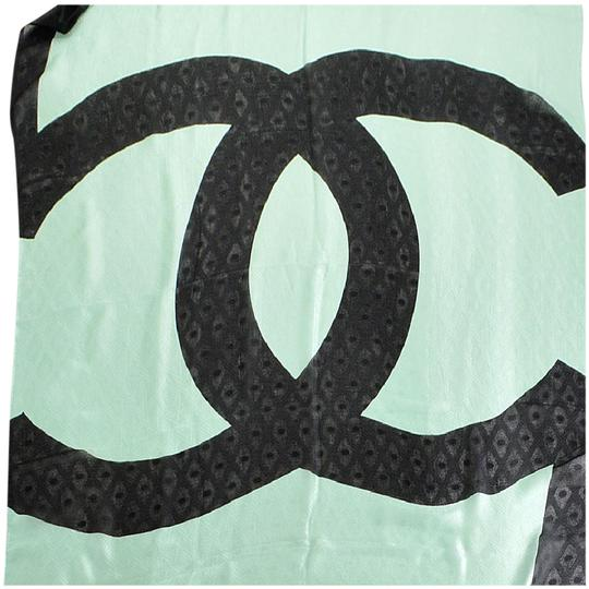 Preload https://item2.tradesy.com/images/chanel-green-mint-black-cc-silk-jacquard-stole-70x180-long-scarfwrap-21629686-0-1.jpg?width=440&height=440