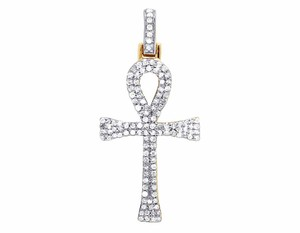 Other 10K Yellow Gold Genuine Diamond Two Row Egyptian Ankh Cross Pendant