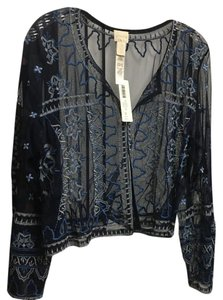 Chico's Top Navy, Silver & White