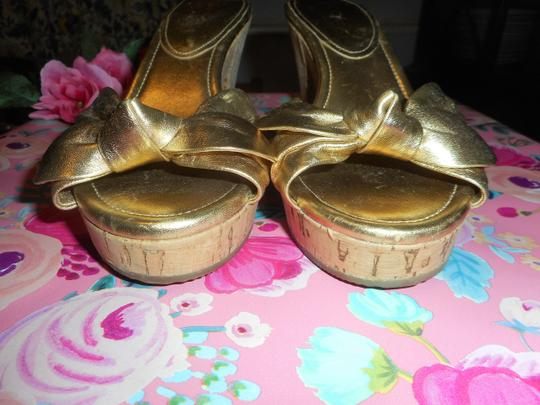 Coach Leather Cork Metallic Gold Sandals