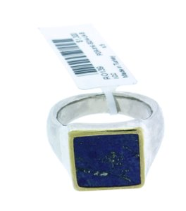 GURHAN GURHAN Sterling silver & palladium Buff square Lapis ring.