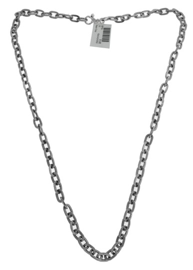 GURHAN GURHAN Oval link flat textured side necklace silver & palladium