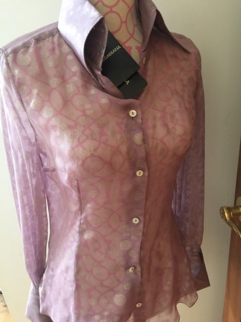 Dolce&Gabbana Button Down Shirt Light lilac with silver designs