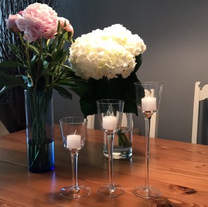 8 10 And 12 Inch Glass Pedestal Votive Candle Holders | Candles Included