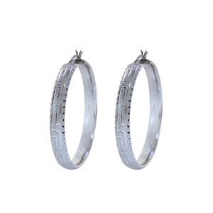 Avital & Co Jewelry 14K White Gold Diamond Cut Hoop Earrings