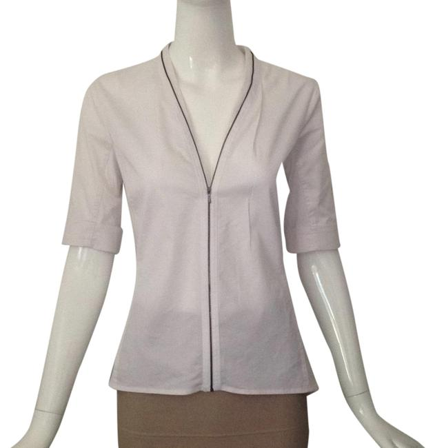 Preload https://item1.tradesy.com/images/elie-tahari-white-zipper-front-blouse-size-2-xs-21630415-0-1.jpg?width=400&height=650