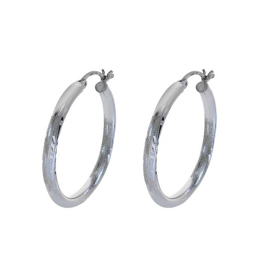 Preload https://item3.tradesy.com/images/avital-and-co-jewelry-14k-white-gold-diamond-cut-design-hoop-earrings-21630442-0-0.jpg?width=440&height=440