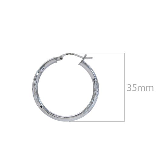 Avital & Co Jewelry 14K White Gold Diamond Cut Design Hoop Earrings