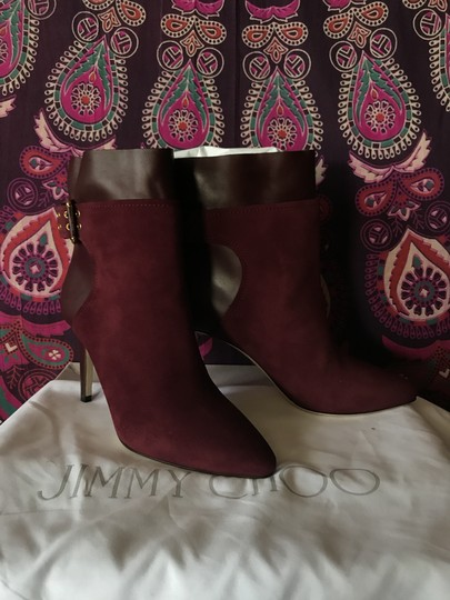 Jimmy Choo Suede Leather Ankle Bordeaux | Burgundy Boots