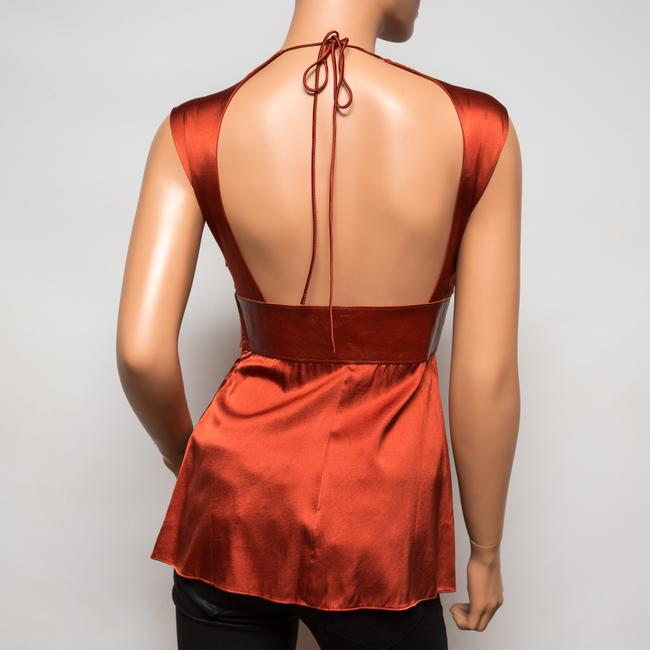 Ingwa Melero 21 Clt Leather Charmeuse Silk Top Paprika
