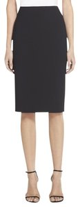 St. John Caviar Pencil Lined Straight Pockets Mini Skirt black