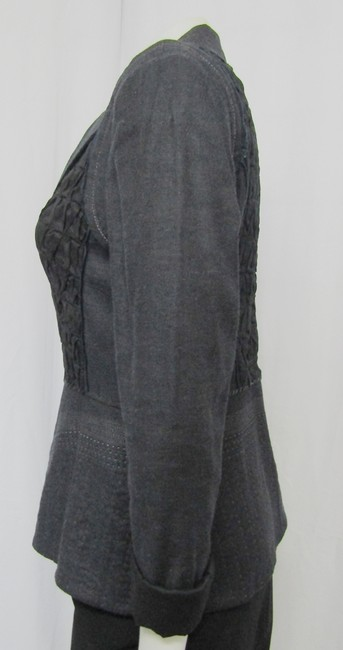 Elie Tahari Ruched Linen Small Embroidered navy Jacket