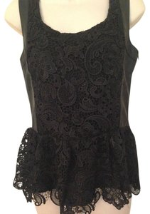 Boundary & Co Leather Lace Top Black