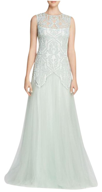 Item - Frost Jade Illusion Embroidered Tulle Long Formal Dress Size 6 (S)