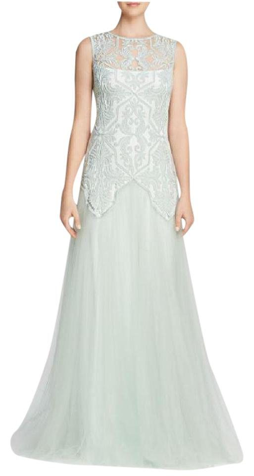 Tadashi Shoji Frost Jade Illusion Embroidered Tulle Long Formal ...