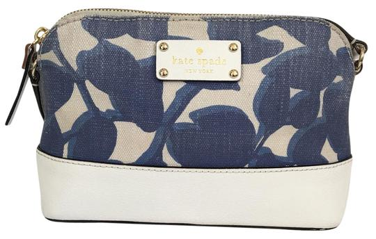 Preload https://item2.tradesy.com/images/kate-spade-white-and-blue-canvas-n-leather-cross-body-bag-21631136-0-1.jpg?width=440&height=440