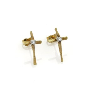 Marco Bicego Marrakech Diamond Brill 18k Cross Stud Earrings