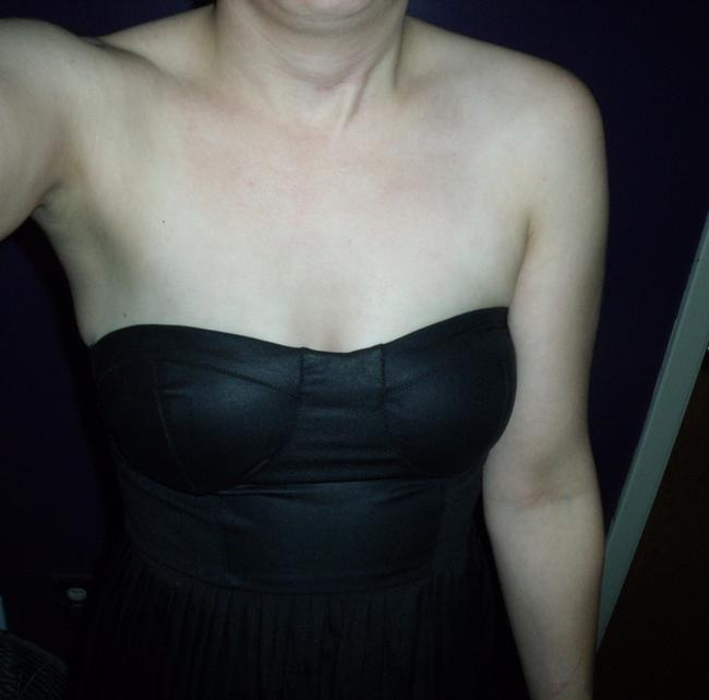 OlsenBoye Faux Leather Pleated Strapless Sexy Goth Dress